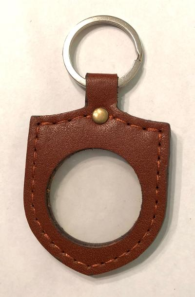 Shield Shape Leather Medallion Key Fob (Brown)